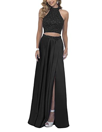d7fd3147884 DarlingU Women s 2 Pieces Beaded Prom Party Gown Homecoming Cocktail Dresses  Black 2