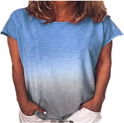 Verano Suelto Cuello Redondo Camisa de Mujer Rainbow Gradient Camiseta Impresa Manga Corta fábrica al por Mayor: Amazon.es: Ropa y accesorios