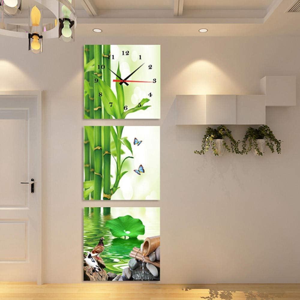 WFQGZ Reloj de Pared Mural Flores cálidas de Primavera tríptico Reloj Creativo Arte Hora Mano Sala de Estar Porche Pintura Decorativa versión Vertical Pintura sin Marco Reloj de