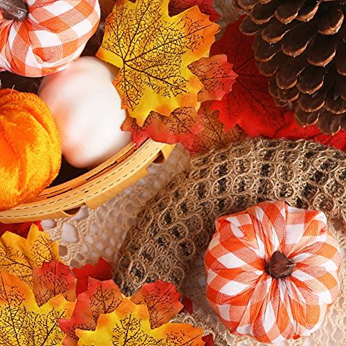 HiPatio Artificial Pumpkins, 8 Pcs Fake Pumpkins Faux Harvest Pumpkins for Thanksgiving Party Halloween Holiday Decorations