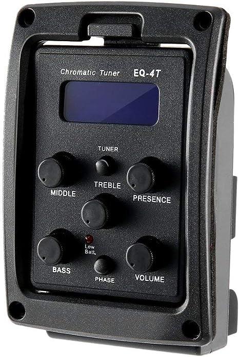 Leoboone EQ-4T Preamplificador EQ de 4 bandas con afinador para ...