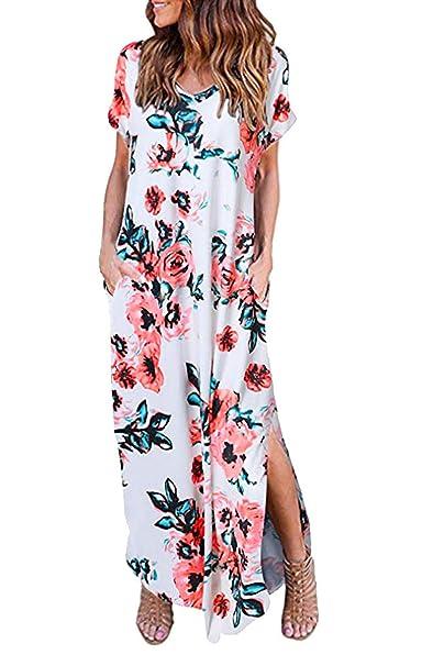 dffeb806c95b Landove Donna Vestiti Lunghi Eleganti Estivi Vestito da Giorno Spacco V Scollo  Manica Corta Vestitini da