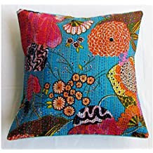 "NANDNANDINI - 16"" TURQUOISE FLORAL KANTHA DECORATIVE THROW PILLOW CUSHION COVER Boho Bohemian Decor"