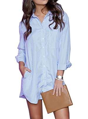 Women's Long Sleeve Charade Boyfriend Shirt Dress Stripe.