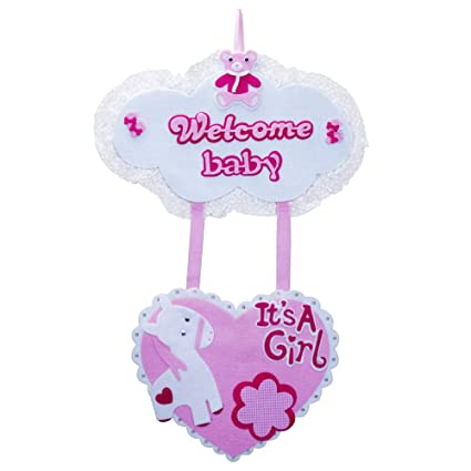 ez life welcome baby girl wall hanging pink amazon in toys games