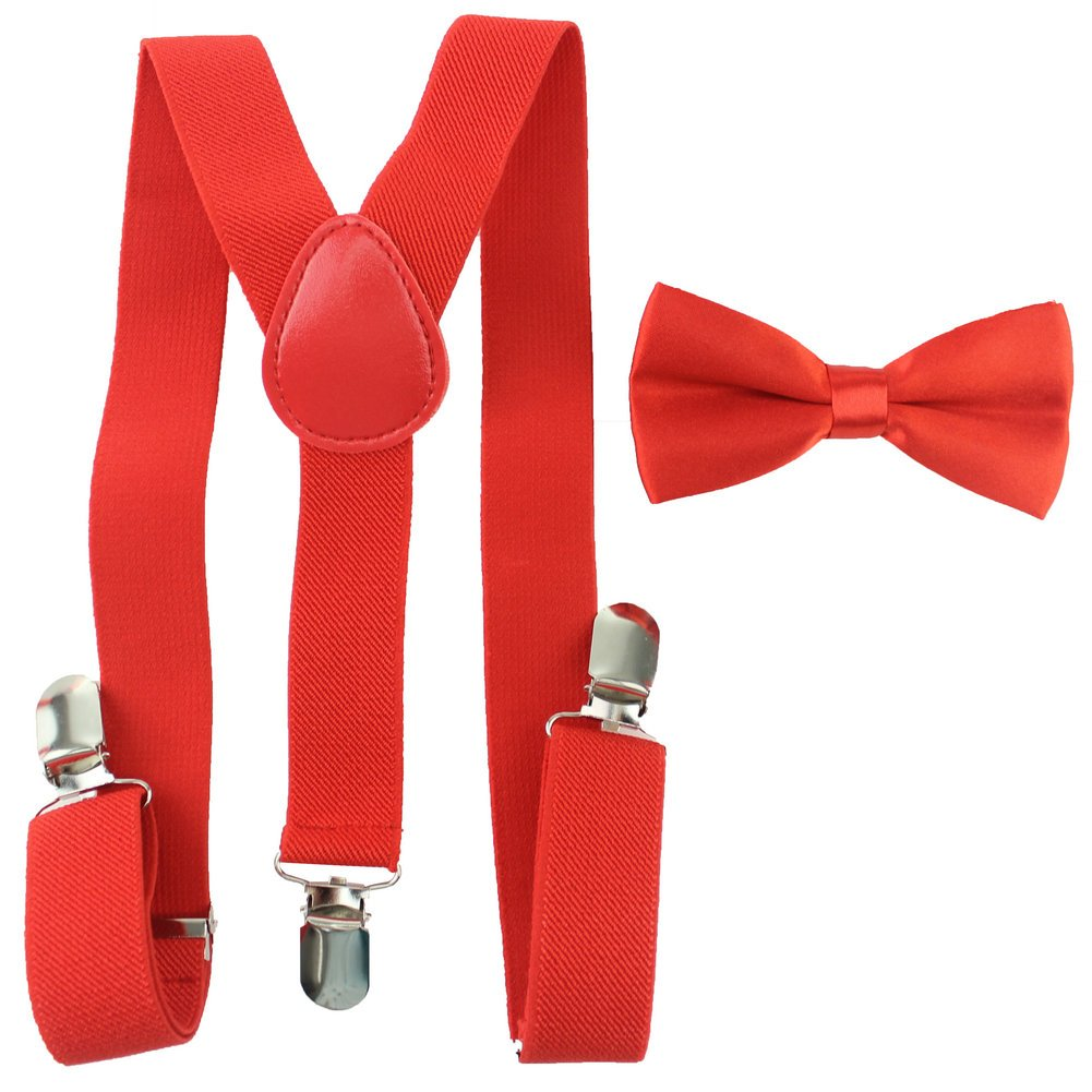 Toddler Baby Boys Girls Clip On Suspenders Bow Tie Set Kid Pre Tied Bowtie (Light Gray) BD-GRAY