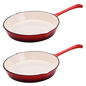 Hamilton Beach 8 Inch Enameled Coated Solid Cast Iron Frying Pan Skillet, Red (2 Pack)