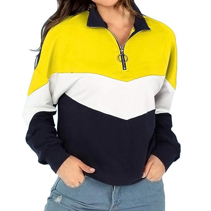 Retazos Polo Camiseta de Las Mujeres EUZeo Invierno Manga Larga Moda Camisas Tallas Grandes Cuello Redondo