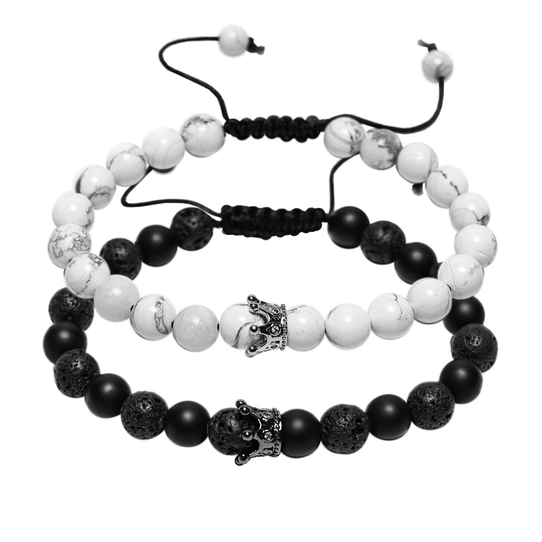 J.F/ée Distance Couples Bracelet His-and-Hers Bracelet de Relations Howlite Blanc Mat Onyx Noir 7in /& 8in