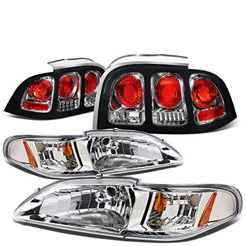 For Ford Mustang SN95 Pair of Chrome Housing Amber Corner Headlight + Chrome Altezza Style Tail Light