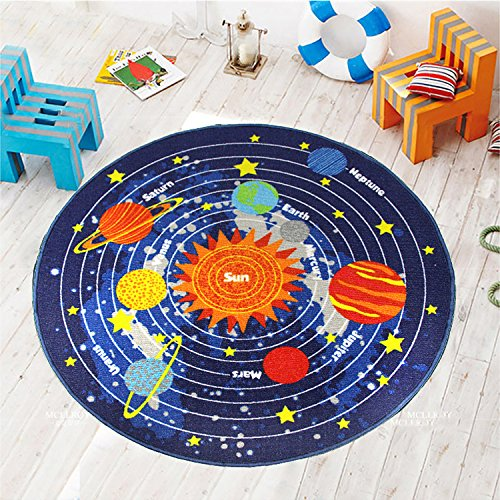 (HEBE Round Kids Rugs Solar System Children's Fun Educational Learning Carpet Playmat Non Skid Nursery Kids Area Rug for Playroom Bedroom Machine Washable,3.3 Feet)