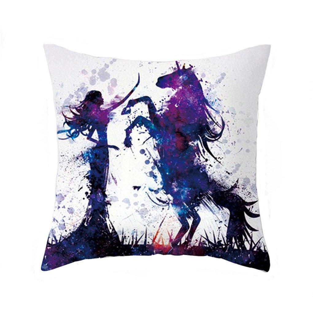 Bigsweety Cute Cartoon Unicorn Pillow Case Bed Sofa Waist Cushion Cover Home Car Decor (Colour B) TangRen