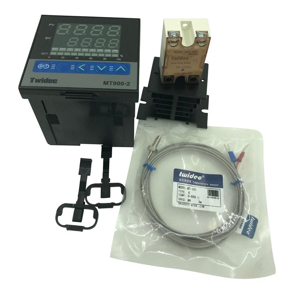 Twidec MT900-2 PID Temperature controller, 90-240VAC, 0-400 °C, Input: K, Output: SSR(DC12V);K screw probe, probe lead length 2M(78.74 inches);TH-25DA SSR 25A;Black heat sink