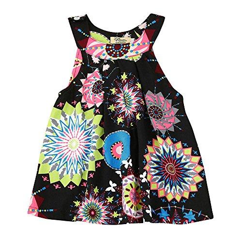 Sameno Toddler Baby Kids Girls Bohemian Princess Dress Flower Print Beach Sundress Skirt Clothes (Black, 3-4 Years) ()