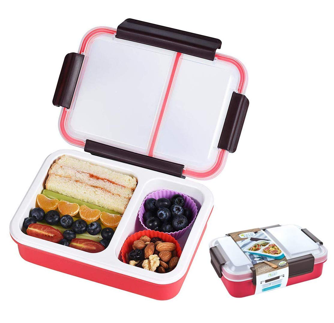 apto para microondas contenedor de alimentos desmontable Azul Fiambreras a prueba de fugas para adultos y ni/ños a actividades al aire libre Bento Box con 2 compartimentos