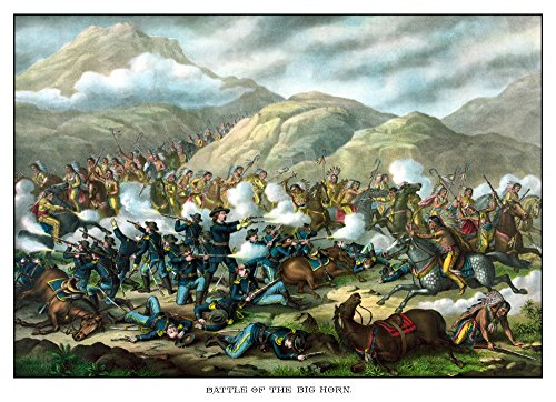 - Posterazzi Vintage Military Featuring Little Bighorn Also Known as Custer's Last Stand Titled Battle of The Big Horn. Poster Print (16 x 11)