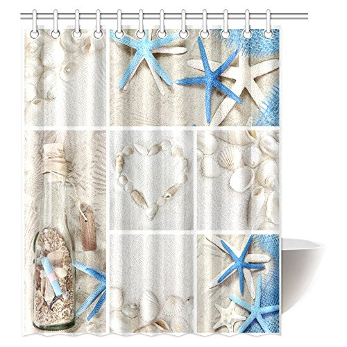 InterestPrint Collage of Summer Seashells Decor Shower Curtain, Seacoast with Sand Colorful Various Seashells and Starfish Tropics Aquatic Wildlife Theme Fabric Bathroom Set with Hooks, 60 X 72 Inches
