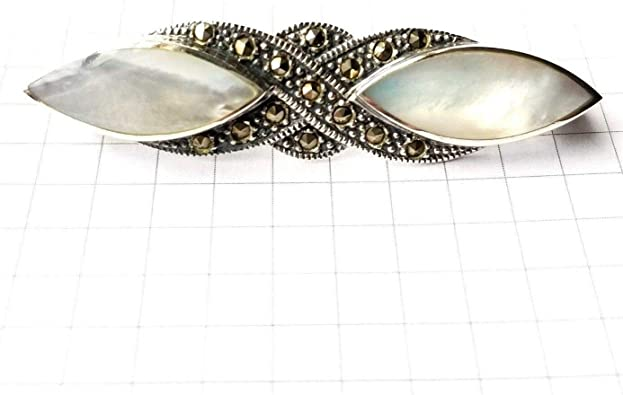 Vintage Sterling Silver White Pearl /& Marcasite Brooch