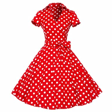 Women Retro Dress Vintage Feminino Vestidos V Neck Short Sleeves Dot Print Dress 1 red dot