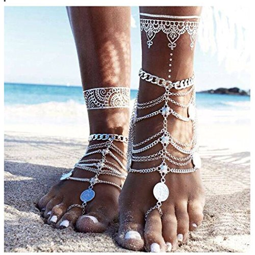Simsly Boho Foot Jewelry Barefoot Sandals with Coin Toe Ring Anklets for Women and Girls JL-0116 2PC