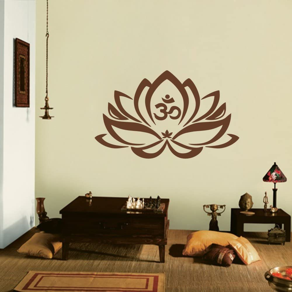 Amazon Com Mairgwall Yoga Studio Decor Lotus Flower Decal Home Living Room Vinyl Bedroom Decoration 35 H X57 W Brown Home Kitchen