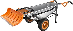 WORX Aerocart Multifunction Wheelbarrow, Dolly and Cart with WA0230 Snow Plow