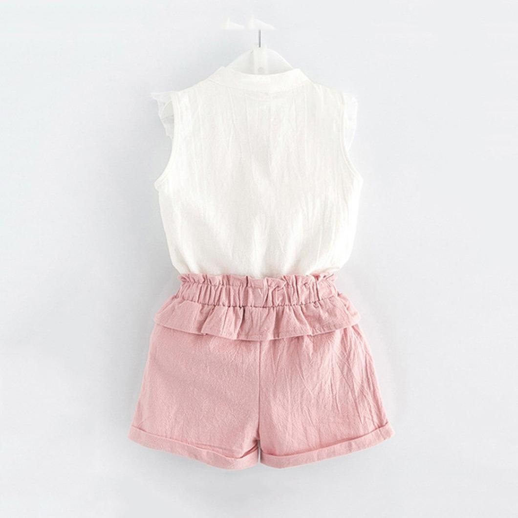 LNGRY Toddler Kids Baby Girl Summer Outfits Embroidery T-Shirt Tops+Shorts Pants