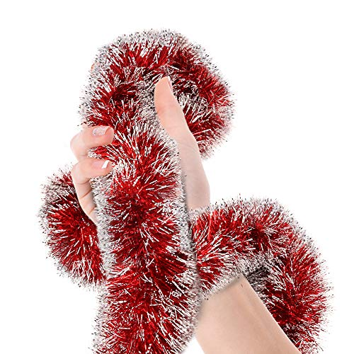 Valentines Day Red Frost Tip Tinsel Garland Christmas Tree Metallic Streamers Celebrate a Holiday Happy Birthday New Years Eve Wedding Party Indoor and Outdoor Disco Decorations Supplies (Red Garland Christmas)