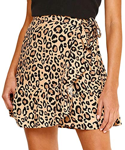 Jyccr Women Casual Polka Dot Ruffle Asymmetric Mini Skirt (Khaki, ()