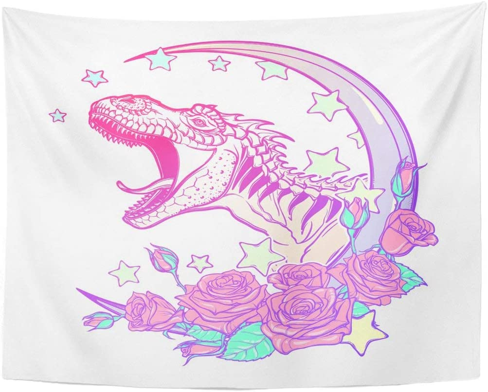 Remain Unique Tapestry Detailed Sketch Drawing of The Roaring Tyrannosaurus Rex on Kawaii Moon and Roses Tattoo Pastel Goth Wall Hang Decor Indoor House Made in Soft
