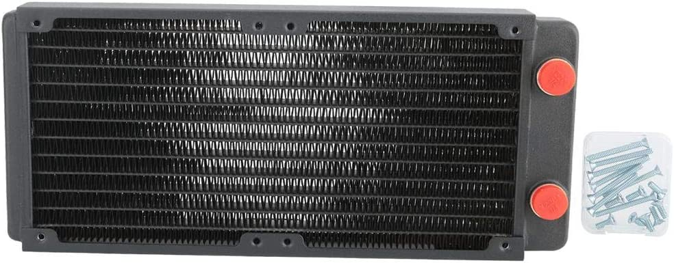 Computer Radiator Water Cooling Cooler,G1//4 Thread Water Cooling Copper Heat Sink with 12-Tube for Continuous Heat Dissipation.