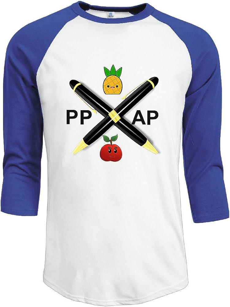 MAYOYIAII Men's Pen Pineapple Apple Pen PPAP 3/4 Sleeve Baseball T Shirts