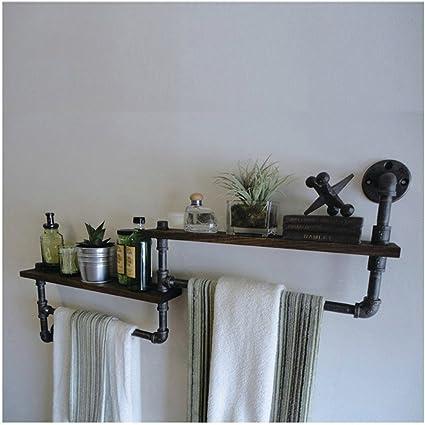 XIXI Estanterías de tubos de hierro retro Estanterías de madera para colgar en la pared Cocina