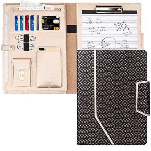 Toplive Padfolio Portfolio Case, Conference Folder Executive Business Padfolio with Document Sleeve,Letter/A4 Size Clipboard,Business Card Holders, Portfolio Padfolio for Women/Men,Mermaid ()