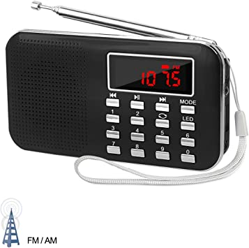 Black Am//fm//sw Alarm Clock Portable Bluetooth Digital Shower Radio Radio