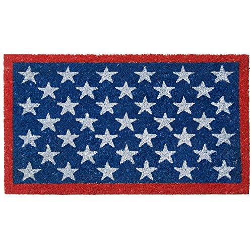Patriotic Door - Rubber-Cal Red, White, and Blue! Patriotic Door Mat - 18 x 30 inches - American Flag Doormat