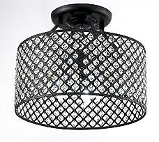 New Galaxy Lighting Antique Black Round Shade Crystal Semi-Flush Mount Chandelier 4-light Ceiling Fixture