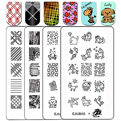 - Ejiubas Stamping Plates Nail Art Plates Nail Stamping Kit Manicure Tools Fall Textures + Deeva Fairy Tales Theme Double-sided 2 Counts 4 Sides EJB-08&DD