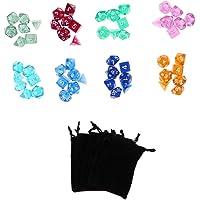 Baosity 56 Juegos de Dados Juegos de D & D Dados Poliédricos Juego de Mesa Multicolor con 8 Bolsos Negros