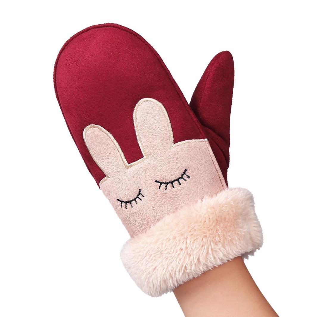 Siviki Baby Cute Winter Warm Full Finger Gloves Cartoon Twist Mittens