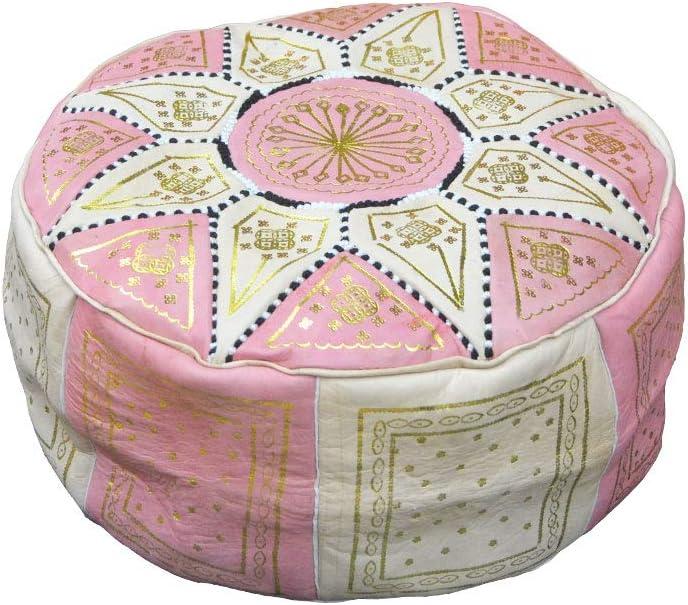 Pouf poire en cuir v/éritable fabriqu/é /à la main par les meilleurs artisans de Fez Beige Si/ège Vide Garnissage non inclus repose-pieds ou d/écoration orientale Rose