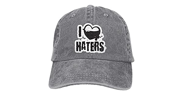 I Love Haters 1 Denim Hat Adjustable Mens Great Baseball Caps,One ...