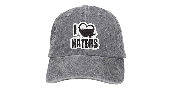 I Love Haters 1 Denim Hat Adjustable Mens Great Baseball Caps,One ...