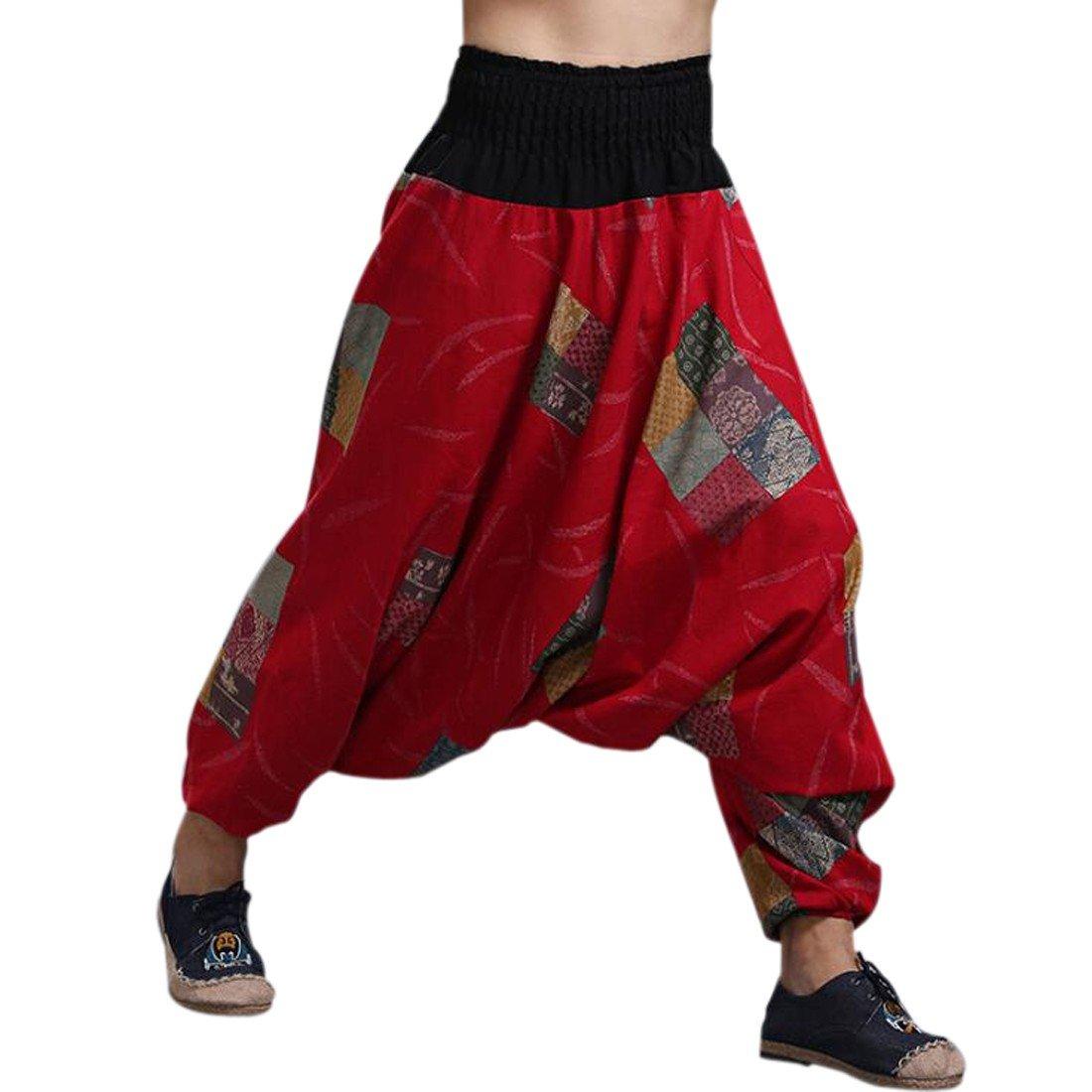 QIYUN.Z Pantalones De Estilo Hippie De Los Hombres De La Vendimia Del Estilo Nacional Pantalones Holgados Bombachos Ocasionales Del… cTlGM