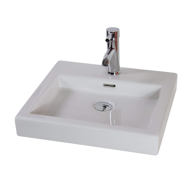 Basin Sink Bathroom Counter top Cloakroom Corner Ceramic Bowl Square KLARA