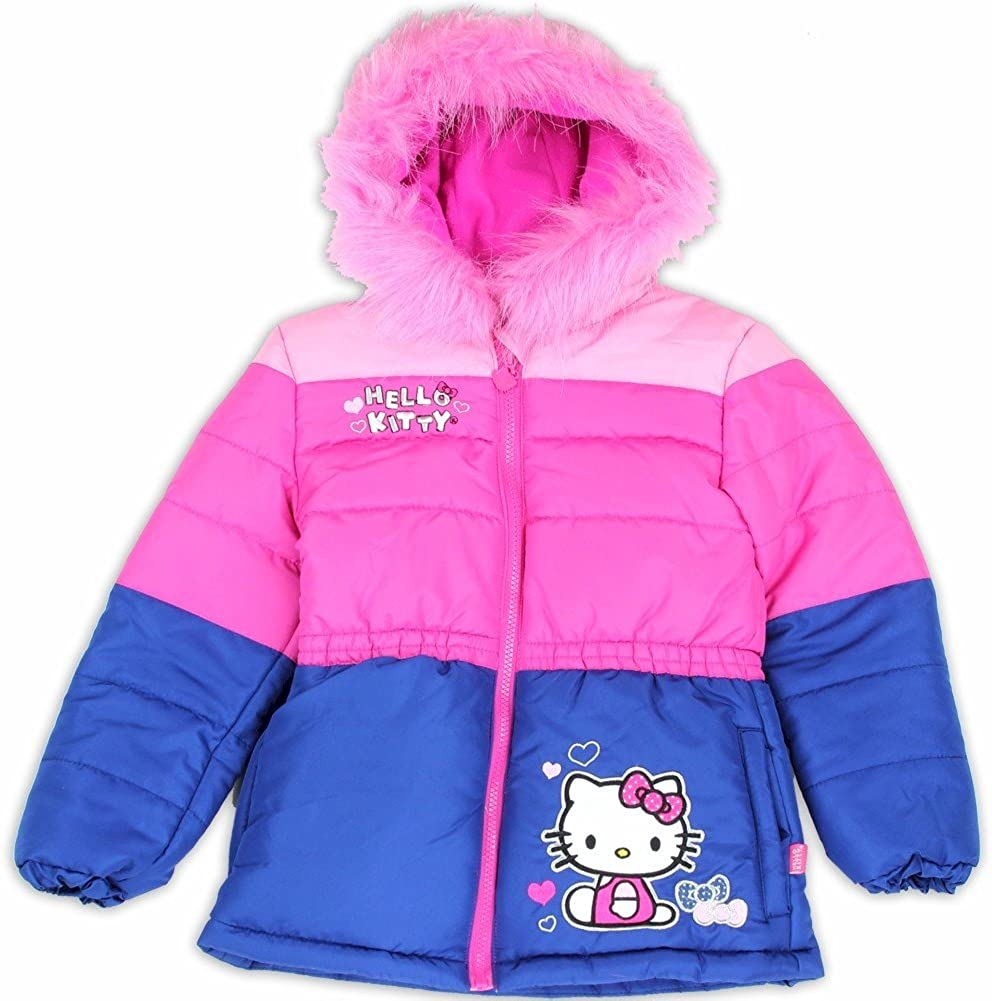 2T Hello Kitty Infant//Toddler Girl/'s HK032 Pink Puffer Hooded Winter Jacket Sz