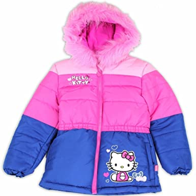 a0784e8c0 Image Unavailable. Image not available for. Color: Hello Kitty Toddler  Girl's Pink/Blue Fur Like Lined Puffer Hooded Winter Jacket