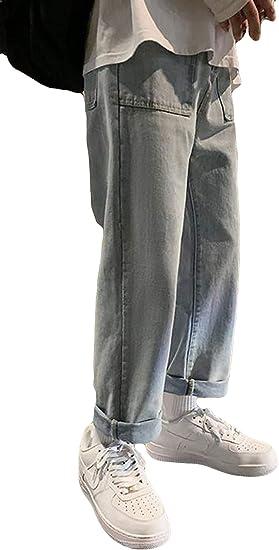 Alhylaデニムパンツ メンズ 夏服 薄手 ロングパンツ 男性 韓国風 プルオーバー おしゃれ ワイドパンツ メンズ 九分丈パンツ シンプル おしゃれ 通学 通勤