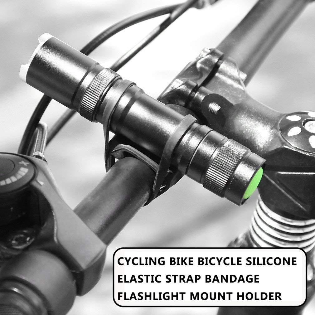 Cycling Bike Bicycle Silicone Elastic Strap Bandage Flashlight Mount Holder Black Ciclismo Bici da Bicicletta Silicone Cinturino Elastico Fasciatura Torcia Supporto per Torcia Nero