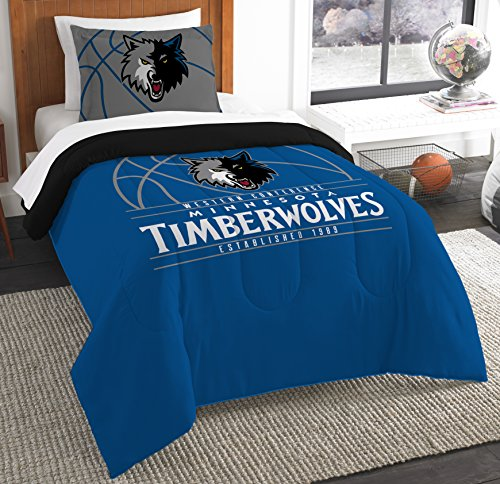 The Northwest Company Officially Licensed NBA Minnesota Timberwolves Reverse Slam Twin Comforter and Sham ()